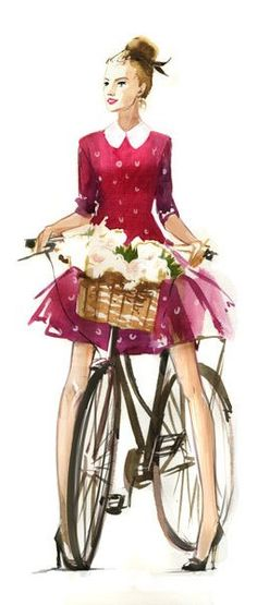 Watercolour illustration by Veronika Kalacheva - A vintage style design. very pretty dress and a sketch with any bike like that I can ignore. Illustration Sketches, Watercolor Illustration, Watercolor Girl, Illustration Flower, Watercolor Fashion, Watercolour Art, Moda Paris, Bicycle Art, Bicycle Basket