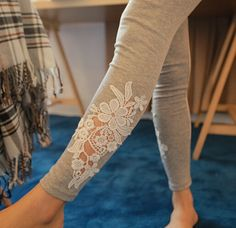 Free Shipping Fashion Women Leggings embroidered lace Leggings Skinny Stretch Pants for spring summer and fall 2 colors
