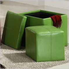 Homelegance Ladd Storage Cube Ottoman in Green
