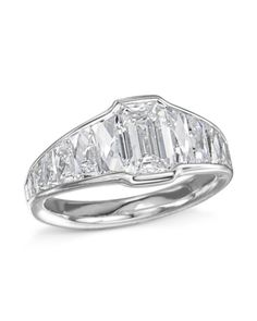 Platinum engagement ring set with a carat emerald-cut diamond center (F-color and clarity) surrounded by 14 French-cut diamonds on the band CTW, F-color, VVS-clarity) Platinum Engagement Rings, Engagement Ring Settings, Emerald Cut Diamonds, Diamond Cuts, Thing 1, Ring Designs, White Gold, Jewels, Sparkle