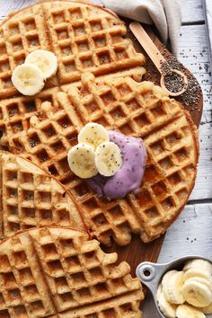 EASY Vegan GF Yogurt Waffles! 30 minutes, tender, crisp and super flavorful! #vegan #glutenfree