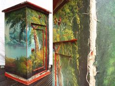 red cabinet decoupaged with the canvas of an oil painting