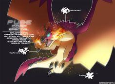 "Based on Rathalos: ---------- Druzarzeros (Druddigon/M-Aerodactyl/M-Charizard Y) Dragon/Fire/Flying Classification: Sky King Wyvern FUSEmon Client: Dragonith Special Ability: Rage Mode ""..."