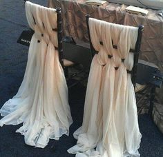 wedding chair DIY sashes, I would just do Bride and Groom Chairs, otherwise lots of fabric. Wedding Bells, Wedding Reception, Elegant Wedding, Trendy Wedding, Reception Table, Chic Wedding, Unique Weddings, Reception Gown, 1920s Wedding