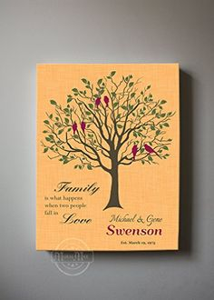 MuralMax  Custom Family Tree When Two People Fall In Love Stretched Canvas Wall Art Wedding  Anniversary Gifts Unique Wall Decor Color Florida Orange  30DAY Size 16x20 -- Want to know more, click on the image.