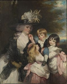 """Lady Smith and Her Children"" by Sir Joshua Reynolds (1787) at the Met ,curators' comments: ""Charlotte, the daughter of Sir Francis Blake Delaval, married in 1776 Sir Robert Smith, Member of Parliament for Colchester. Their children are George Henry, Louisa, and Charlotte."""