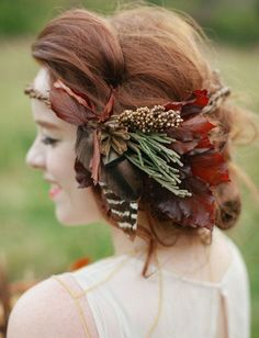 rustic wedding flower crown with feathers