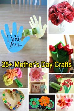 25+ Mother's Day craft ideas for kids. Dads - get the kids involved in making something special for mom on mothers day with some of these fun ideas. (And give flowers too. And breakfast in bed. Just sayin') #mothersdaykidscrafts