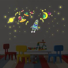 Galaxy Moon and Stars Glow Wall Decal