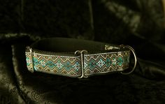 Martingale collar in classic silver and turquoise.