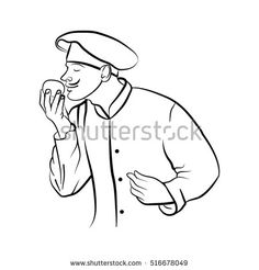 Hand drawn chef. Vector sketch of chef prepares the product on a white background