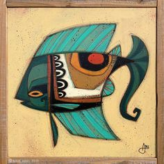 """""""Fish Outta Water 048"""" © Erik Abel 2015  15.5x15.5  Acrylic, marker, colored pencil on wood. Frame: Reclaimed Redwood"""