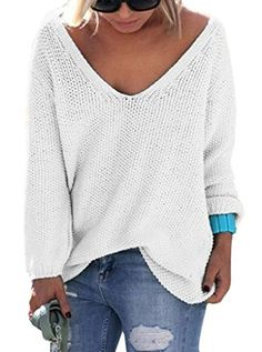 0592e1bc200d3b Sarin Mathews Womens Casual Autumn Deep V Neck Solid Loose Knit Pullover  Sweater Off White S