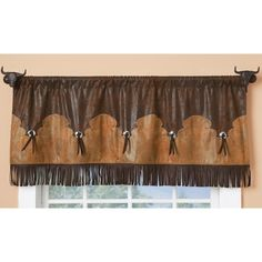 Fringed Concho Valance - Lise Streit Fringed Concho Valance Fringed Concho Valance Source You are in Western Bedroom Decor, Western Rooms, Western Bathrooms, Rustic Western Decor, Country Decor, Western Theme, Western Style, Western Valance, Ranch Decor