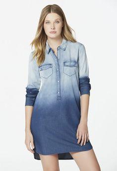 Vêtements Chambray Shirt Dress en Blue Ombre - Livraison gratuite sur JustFab