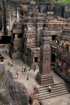 The rock hewn temple on Mt. Kailasa in Tibet (ca. century)Ellora located in the Aurangabad district of Maharashtra, India, is one of the largest rock-cut monastery-temple cave complexes in the world, and a UNESCO Places Around The World, Oh The Places You'll Go, Places To Travel, Places To Visit, Around The Worlds, Travel Destinations, Temples, Ajanta Ellora, Ajanta Caves