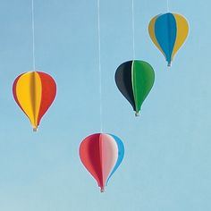 Paper hot air balloon mobile. - Another craft for the circus party, put baloon on pipecleaner for highropes dancer or clown
