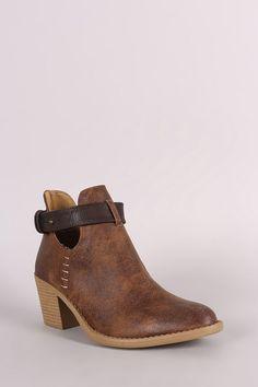Qupid Almond Toe Blocked Heeled Ankle Boots