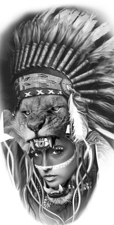 War Bonnet, Indian Girls, Headdress, Black And Grey, Gray, Koi, Girl Tattoos, Sleeve Tattoos, Native American