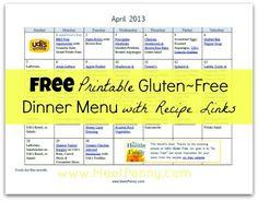 Gluten Free Dinner Menu planner with recipe links - @Tabitha Gibson Philen (Meet Penny)