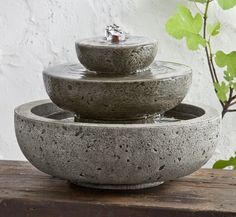 Mini Series Platia Fountain    Add this charming tabletop fountain to your indoor decor to create a tranquil space for relaxing and letting go. Place the Mini Series Platia Fountain in a bathroom for a spa-like atmosphere or use this special fountain outside on a patio or balcony. Cast stone fountains from Campania International come in 12 finish colors and is made in the US. Shown in Alpine Stone.