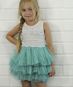 Aqua Lace & Tulle Tutu Dress