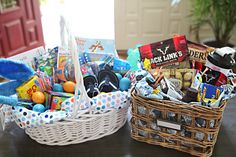 Easter Gift baskets for boys young and old -    Kids Basket: coloring book, a new dr. seuess book, plate/untensil set, snack cups, flipflops, some chalk, bubbles, new video, candy, bathing suits, summer hat.    Man Basket: Pretzels/Peanuts, beff jerky, fancy chocolates/protein bars, candy, shaker cup, car/fishing stuff