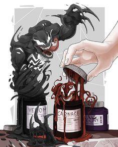 Venom and Carnage Venom Comics, Marvel Venom, Marvel Art, Marvel Dc Comics, Marvel Heroes, Marvel Avengers, Ps Wallpaper, Marvel Wallpaper, Spiderman Art