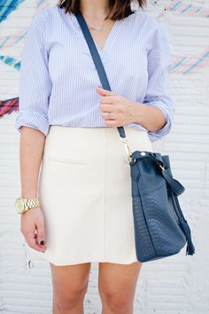 @Madewell striped top and cream skirt outfit via @mystylevita [My Style Vita] #fashion #outfit #stripes