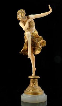 An Art Deco Gilt bronze and ivory 'Hindu Dancer' figure signed…