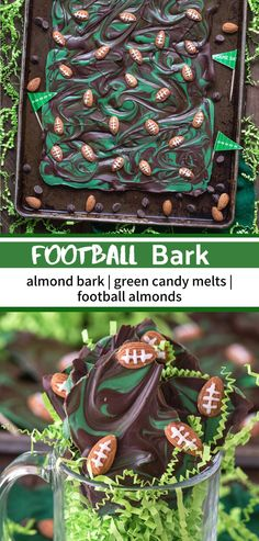 This recipe for football bark is perfect for game day or super bowl! Only 7 ingredients and ready in under 2 hours. Single Serve Desserts, Desserts For A Crowd, Winter Desserts, Great Desserts, Delicious Desserts, Dessert Healthy, Healthy Eats, Yummy Food, Superbowl Desserts
