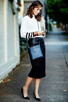 Wear to Work Black Leather Pencil Skirt