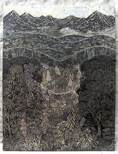 """Overlook"": A new woodcut print (Sept. After two years of preparation and meticulous carving, ""Overlook"" is a woodcut print from the minds and hands of Paul Roden and Valerie Lueth, of Pittsburgh-based Tugboat Printshop Colossal Art, Forest Landscape, Landscape Art, Tug Boats, Art Graphique, Wood Engraving, Linocut Prints, Photomontage, Woodblock Print"