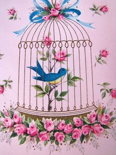 Vintage Pink 'Bluebird in Cage' Pink Birthday Greeting Card on Etsy. Vintage Cards, Vintage Paper, Vintage Postcards, Vintage Images, Vintage Pink, Paper Birds, Bird Cages, All Birds, Illustrations