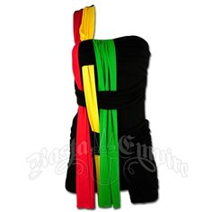 This short rasta and reggae top and shorts features a double strap over one shoulder. This top and shorts one piece has rasta colored material running down the front in strips and laced in the black sway pieces running across the dress in front. In back you will find an extra black sway strip. Hand Wash cold water. Do not dry. 95�0rayon