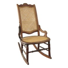 American 19th-Century Wood and Cane Rocker on Chairish.com