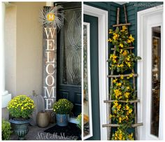 Have fun with a porch corner on this Front Porch Ideas Post - Inspire Your Welcome This Spring! We loved how they recycled this ladder and make this DIY Welcome Sign. More ideas on Frugal Coupon Living.