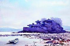 간월도 53.0 x 40.9cm watercolor dn ppaper watercolor by Jung in sung