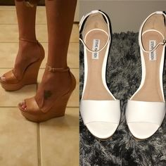 White Leather Ankle Strap Wedges Beautiful white leather strap with wooden wedge. Lovely contrast! Steve Madden Shoes Wedges