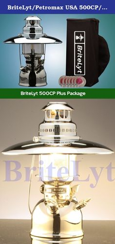 BriteLyt/Petromax USA 500CP/XL Pressure Lantern Plus Package. The BriteLyt XL 500CP Rapid XL, the new world standard! This includes: 500CP Nickel Plated Brass Lantern Parts/Tool Kit (6) Mantles Fuel Funnel Spirit Bottle Instruction booklet. Top reflector,and carrying case.The new BriteLyt XL family of high powered lanterns represent the biggest innovation in over 100 years for liquid fueled lantern technology. We started from scratch to design the most durable, functional and innovative...