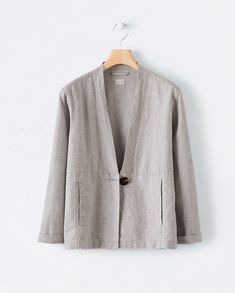 Poetry - Panelled linen jacket Iranian Women Fashion, Lace Blazer, Linen Jackets, Linen Trousers, Casual Tops For Women, Classy Outfits, Fashion Outfits, Fashion Design, Clothes