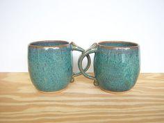 Sea Mist Stoneware Ceramic Coffee Cups  Set of 2 by dorothydomingo