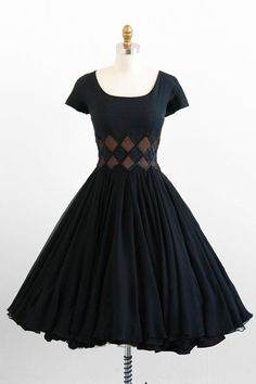 vintage 1950s black silk chiffon cocktail party dress #retro #vintage #feminine #designer #classic #fashion #dress   http://my-beautiful-dress-collections.blogspot.com