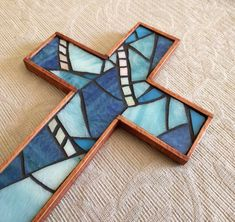 Blue Rustic Wooden Cross, Handmade Blue Wall Cross, Stained Glass Mosaic Cross, Baptism Hanging Cross, Wooden Cross Wall Decor Mosaic Crosses, Wall Crosses, Mosaic Glass, Stained Glass, Mosaic Art Projects, Purple Cross, Cross Wall Decor, Copper Glass, Blue Stain