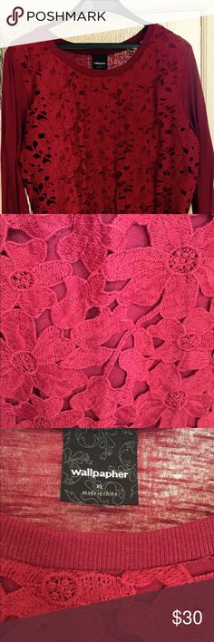 Cranberry Flower sweater Size XL. Laser-cut cranberry colored sweater. Gently worn. Wallpapher Sweaters Crew & Scoop Necks
