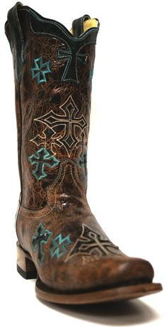 "Corral Women's Whiskey Turquoise Cross Boots -- We've got your ""something blue"" covered with these beautiful #Corral #cowgirl boots. 