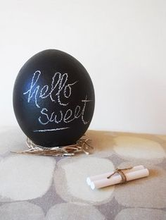 Blackboard painted easter eggs for place setting!