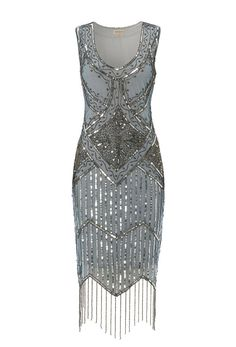 UK14 US10 Grey Blue Vintage inspired 1920s vibe Flapper Great Gatsby Beaded Charleston Sequin Deco Wedding Party Fringe Dress New Hand Made