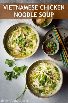This Vietnamese Chicken Vermicelli Noodle Soup (Bun Ga) is light yet comforting and delicious. It takes only an hour to cook this easy and healthy noodle soup from scratch. Chicken Vermicelli, Vermicelli Noodles, Meat Recipes, Indian Food Recipes, Asian Recipes, Healthy Recipes, Ethnic Recipes, Vietnamese Recipes, Gourmet