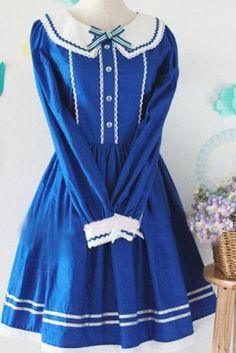 Blue Cotton Long Sleeves Bow School Lolita Dress